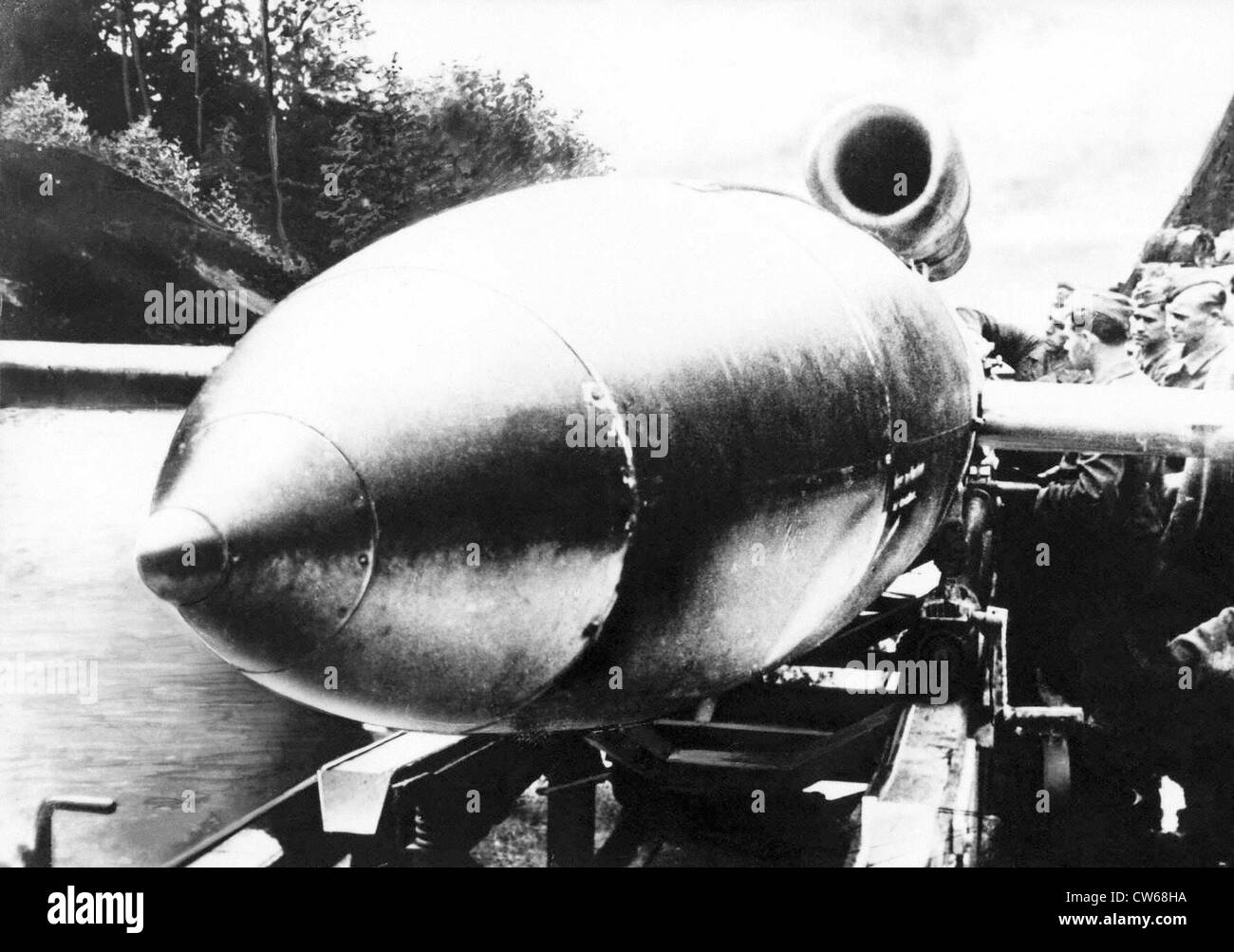 Fieseler Fi-103 (FZG-76) V-1 rocket ready for launching, 1944. - Stock Image