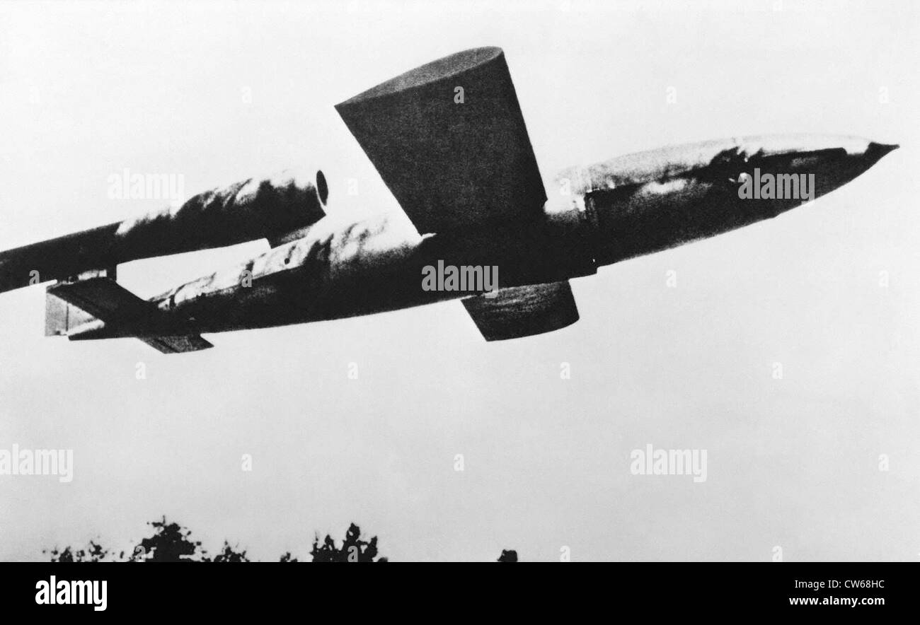 German Fieseler Fi-103 (FZG-76) V-1 rocket, in flight, 1944. - Stock Image