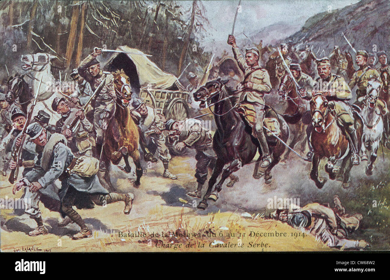 Battle of the Motawa, December 6-11, 1914: charge of the Serb cavalry, attacking an Austrian convoy Stock Photo