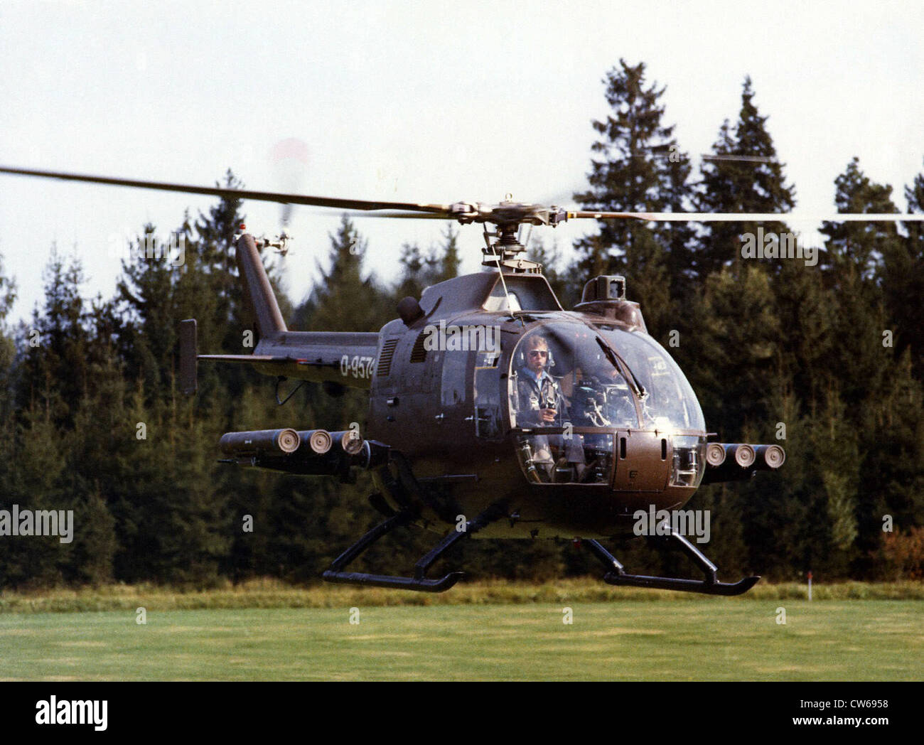 German MBB Bo-105 helicopter with HOT missile-launcher - Stock Image