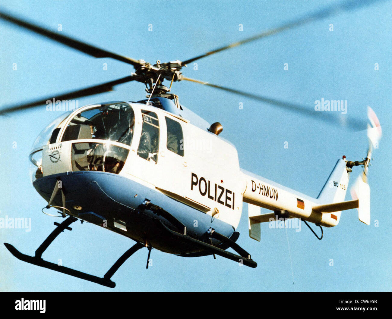 German MBB Bo-105 helicopter of the German police. - Stock Image