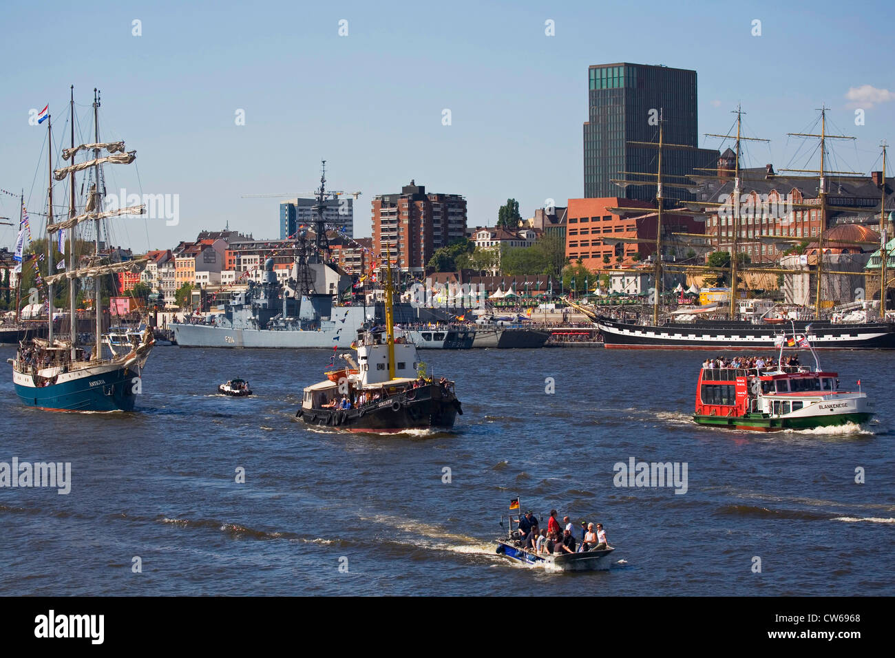 ships in the Port of Hamburg at the harbour birthday, Germany, Hamburg - Stock Image