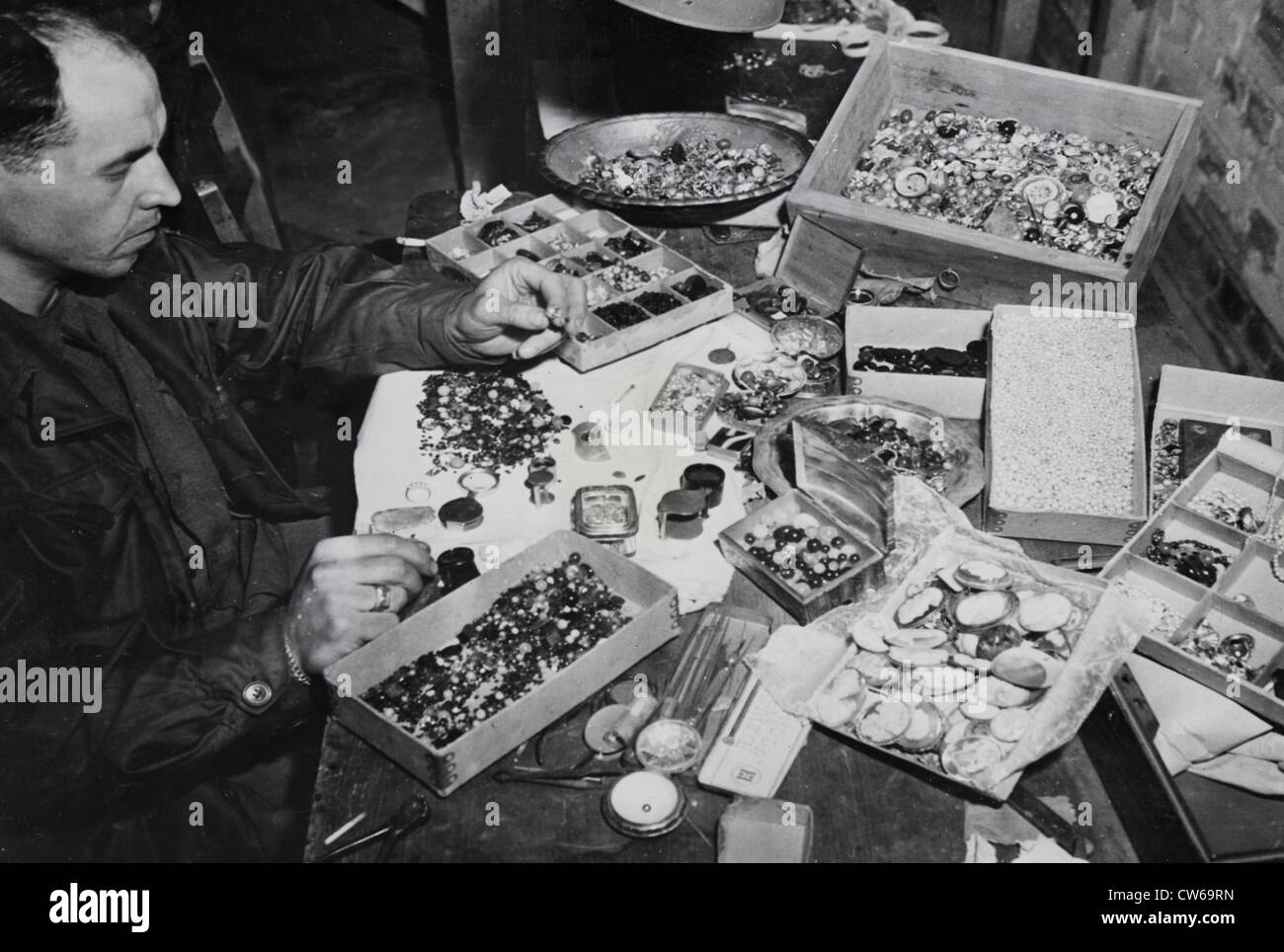 German loot from Buchenwald Concentration Camp atrocity victims (April 1945) - Stock Image