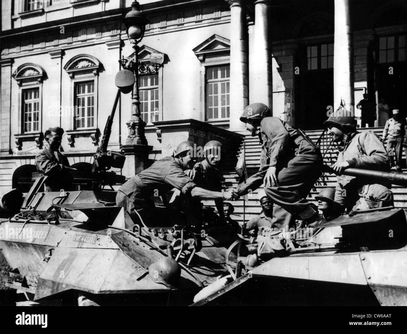 3rd and 7th U.S Armies meet in Autun (France) - Stock Image