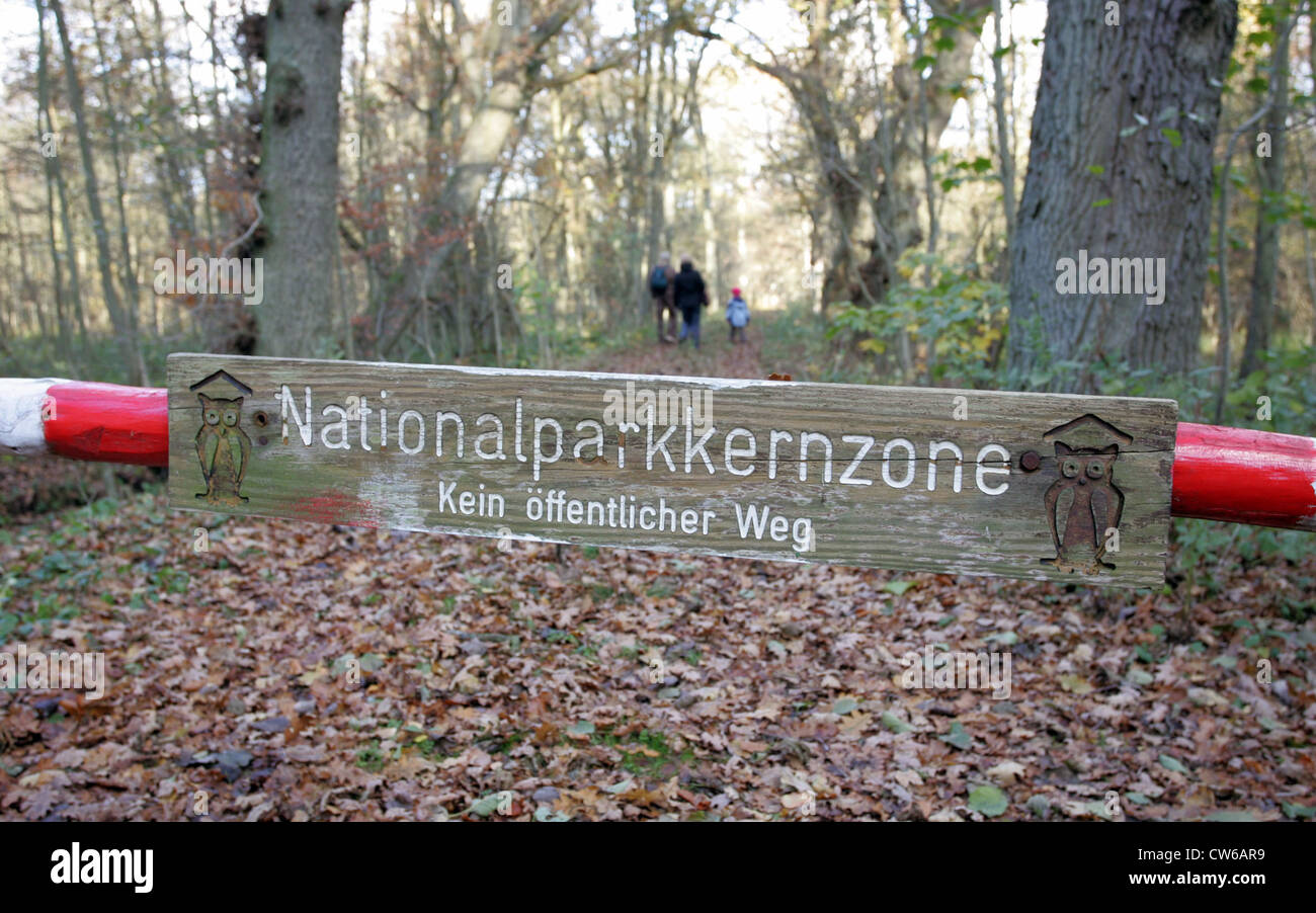 Symbol photo, sign National Park core zone - Stock Image