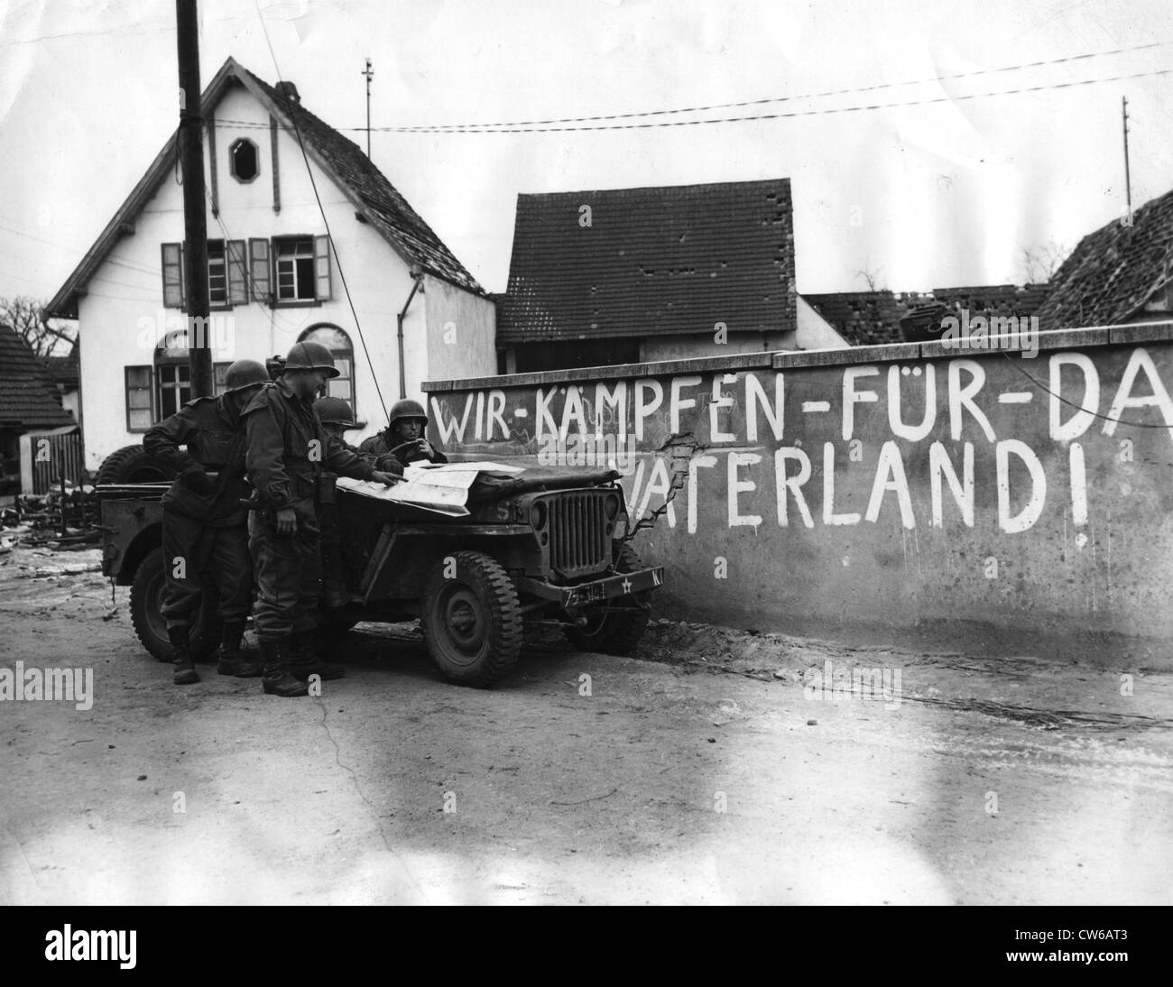 We fight for the Fatherland on a wall in Scheibenhardt (Germany) December 30, 1944 - Stock Image