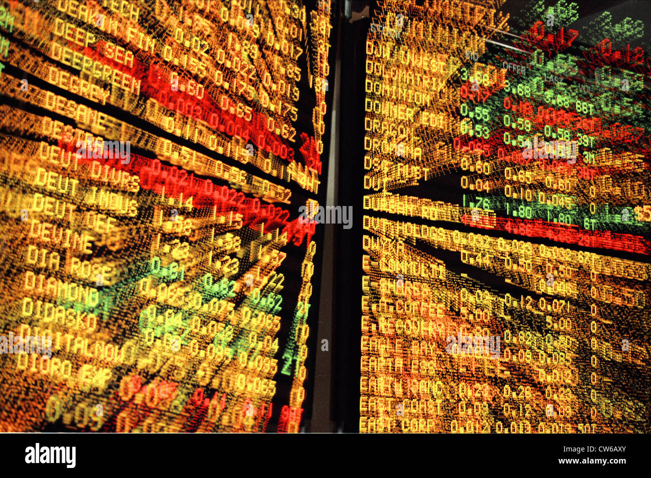 blackboard at stock market - Stock Image