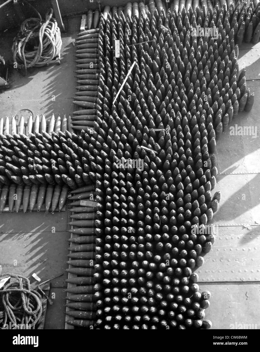 155 mm. shells on board a craft in Marseille(France) January 1,1945 - Stock Image