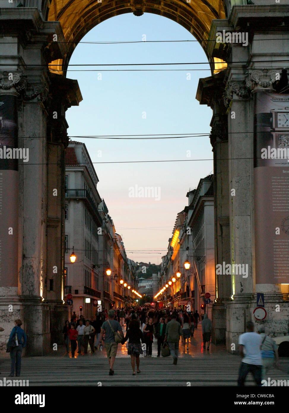 Pra�a do Com�rcio; Platz des Handels; Baixa; Arco da Rua Augusta, Portugal, Lisbon - Stock Image