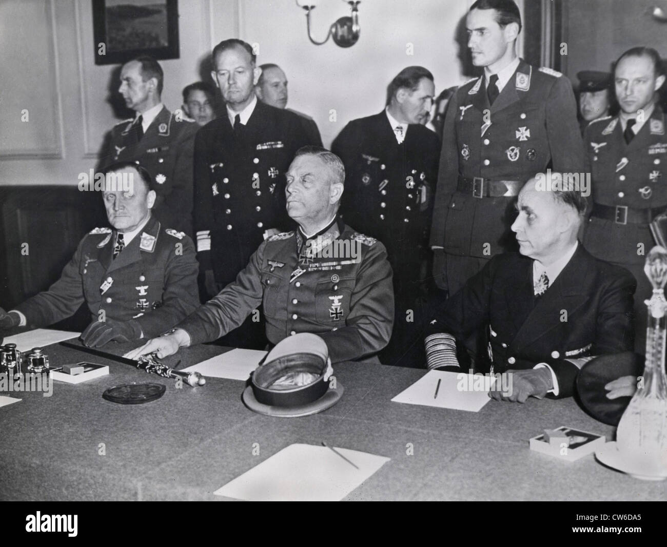 Image result for Keitel, signing the ratified surrender terms for the German Army in Berlin, 8/9 May 1945
