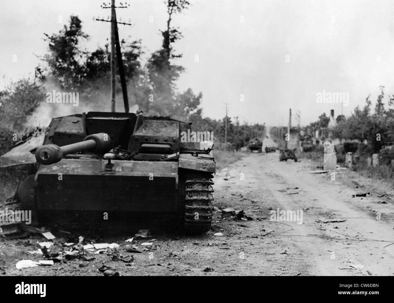 Wrecked German tanks and vehicles on the Normandy battlefront (June 1944) - Stock Image