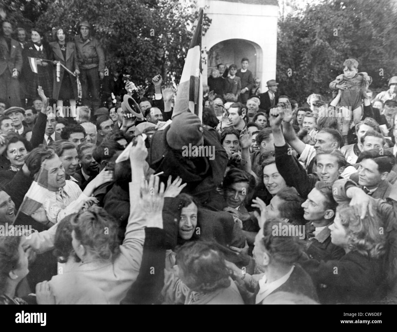 Liberated Luxembourg welcomes Prince Felix (September 11, 1944) - Stock Image