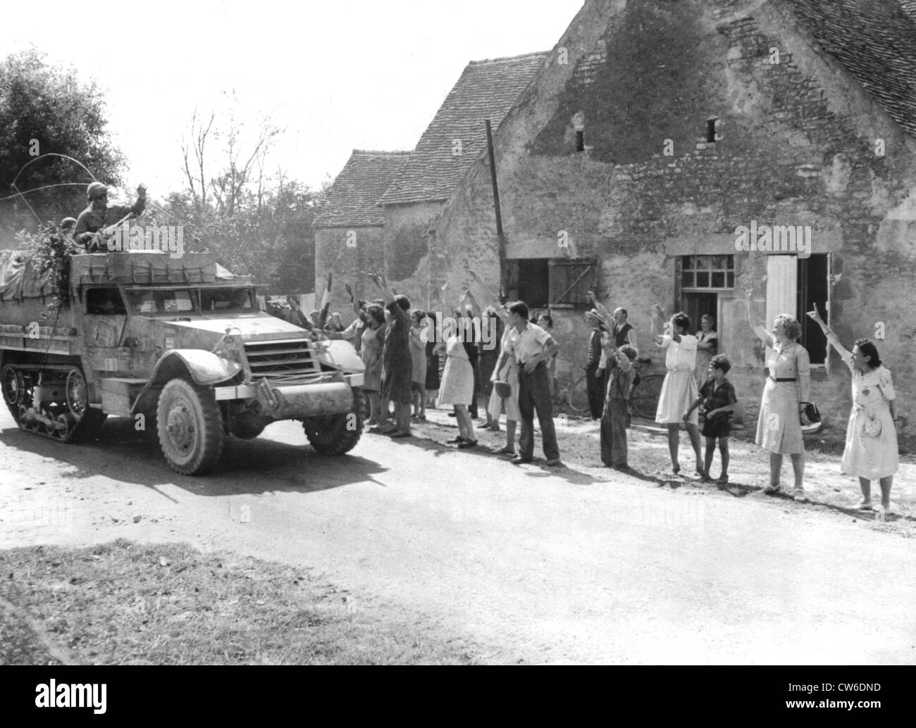 French civilians greet French troops in Vieux Bourg August 1944 - Stock Image
