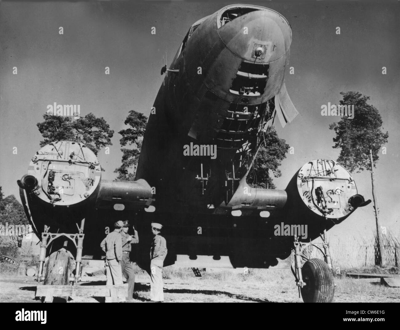 American cargo plane dismantled for salvage in China, 1944 - Stock Image