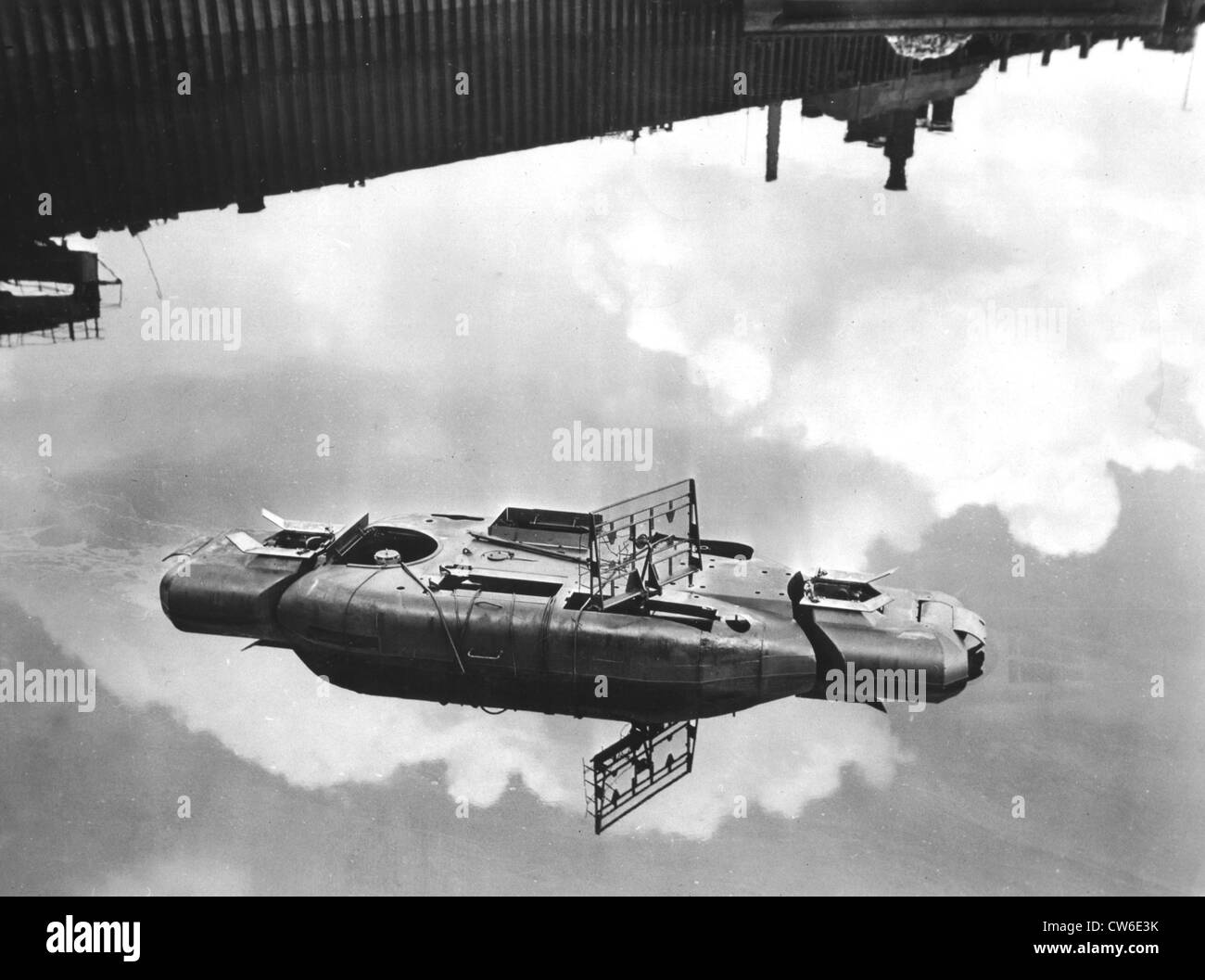 A German U-boat sunk in Bremen, April 27, 1945 - Stock Image