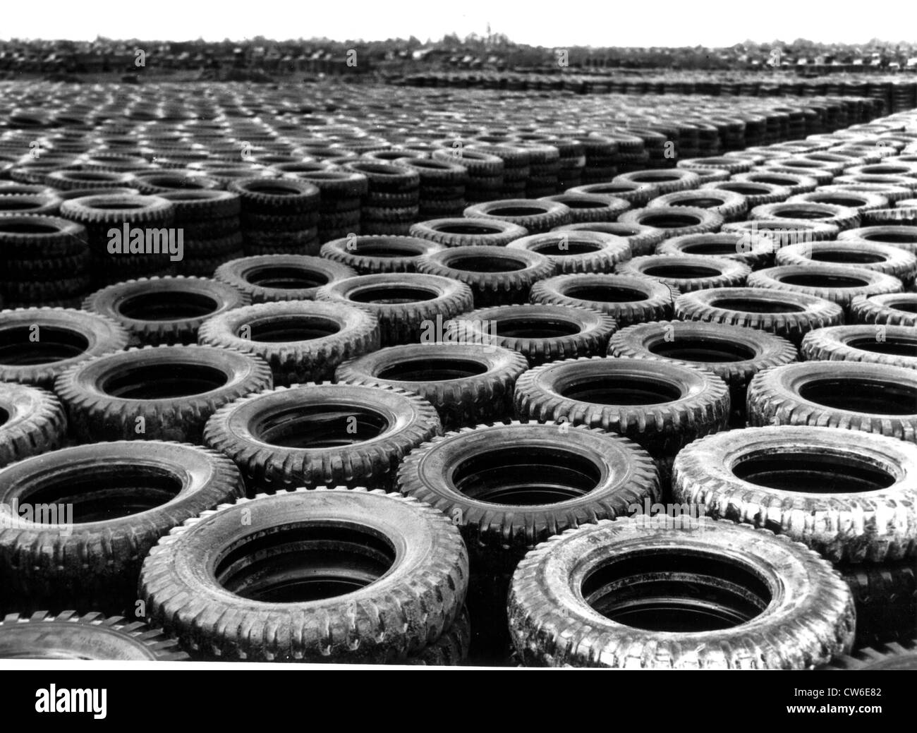 U.S. Army tires await repair in France, 1944 - Stock Image