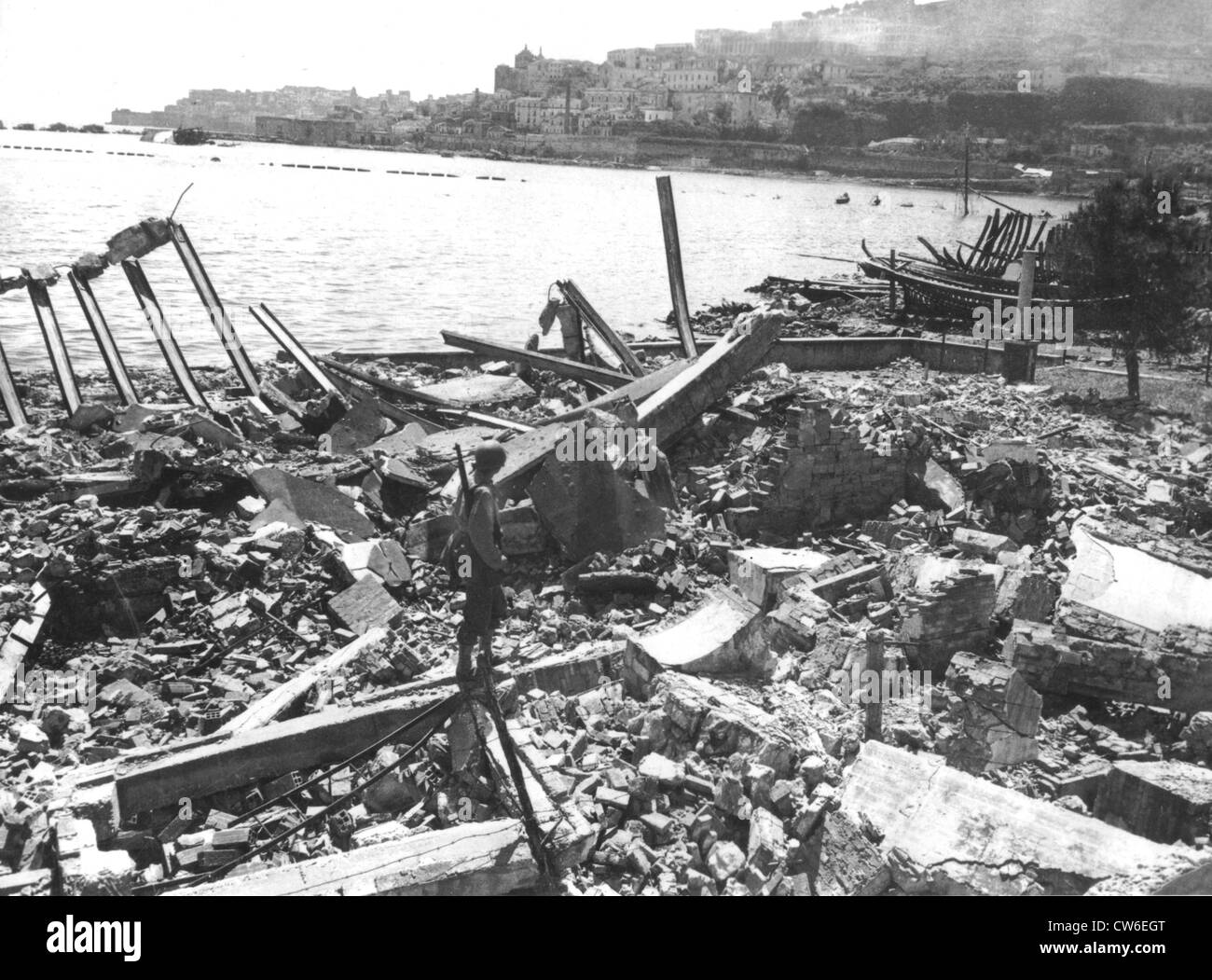 View of the demolished Gaeta harbor in Italy , May 22, 1944 - Stock Image