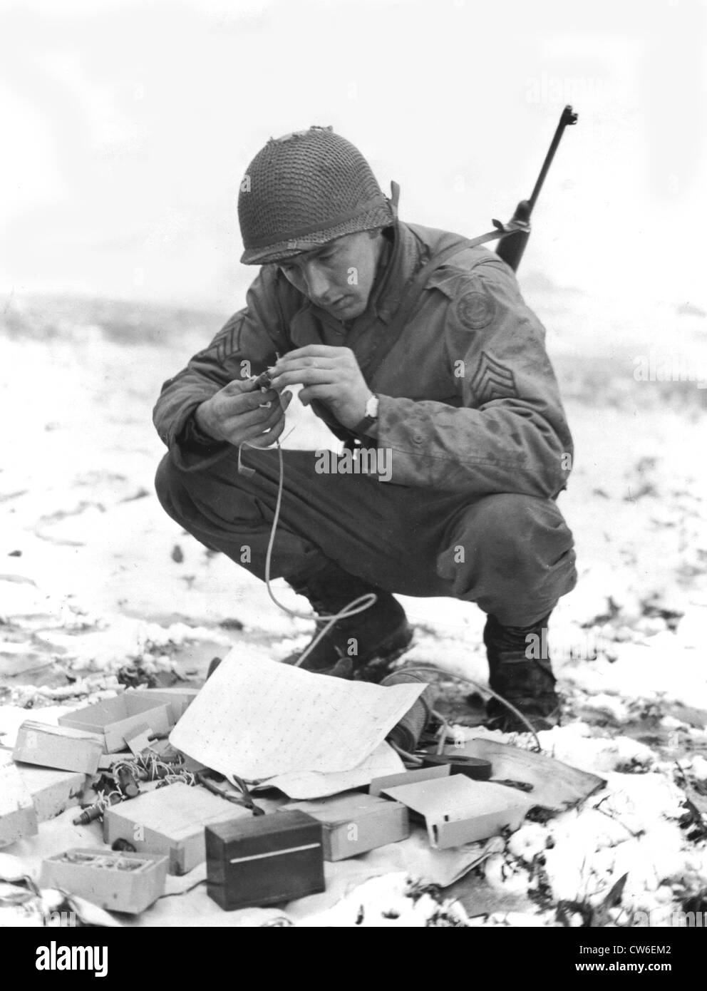 Bobby traps in Germany, January 4, 1945 - Stock Image