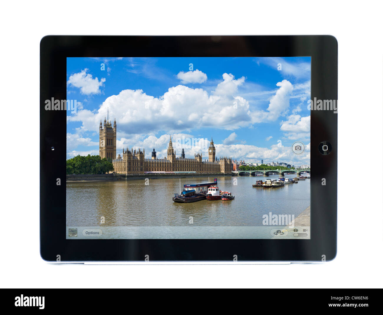 Camera on an Apple iPad 3 showing the Houses of Parliament, London, England - Stock Image