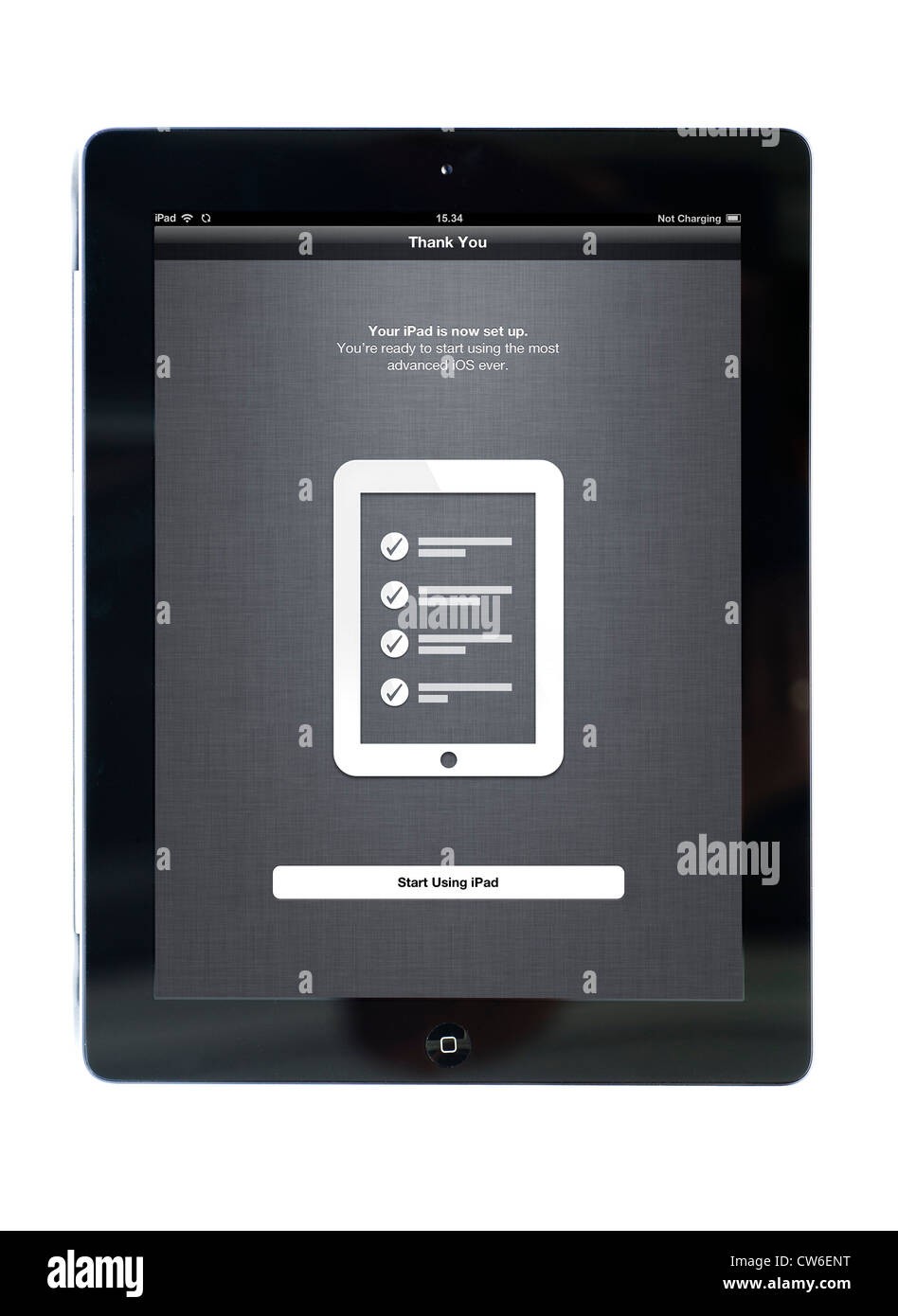 Set up screen on an Apple iPad 3 tablet computer - Stock Image