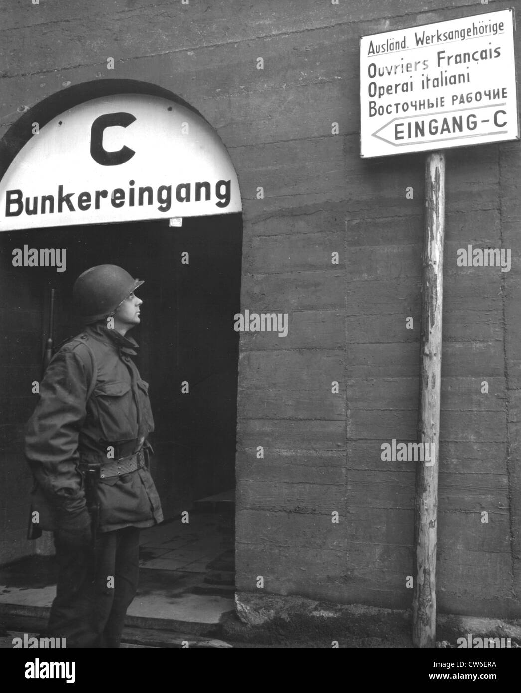 Foreigners languages signs on barracks at the Daimler-Benz auto factory in Mannheim, April 6, 1945 - Stock Image