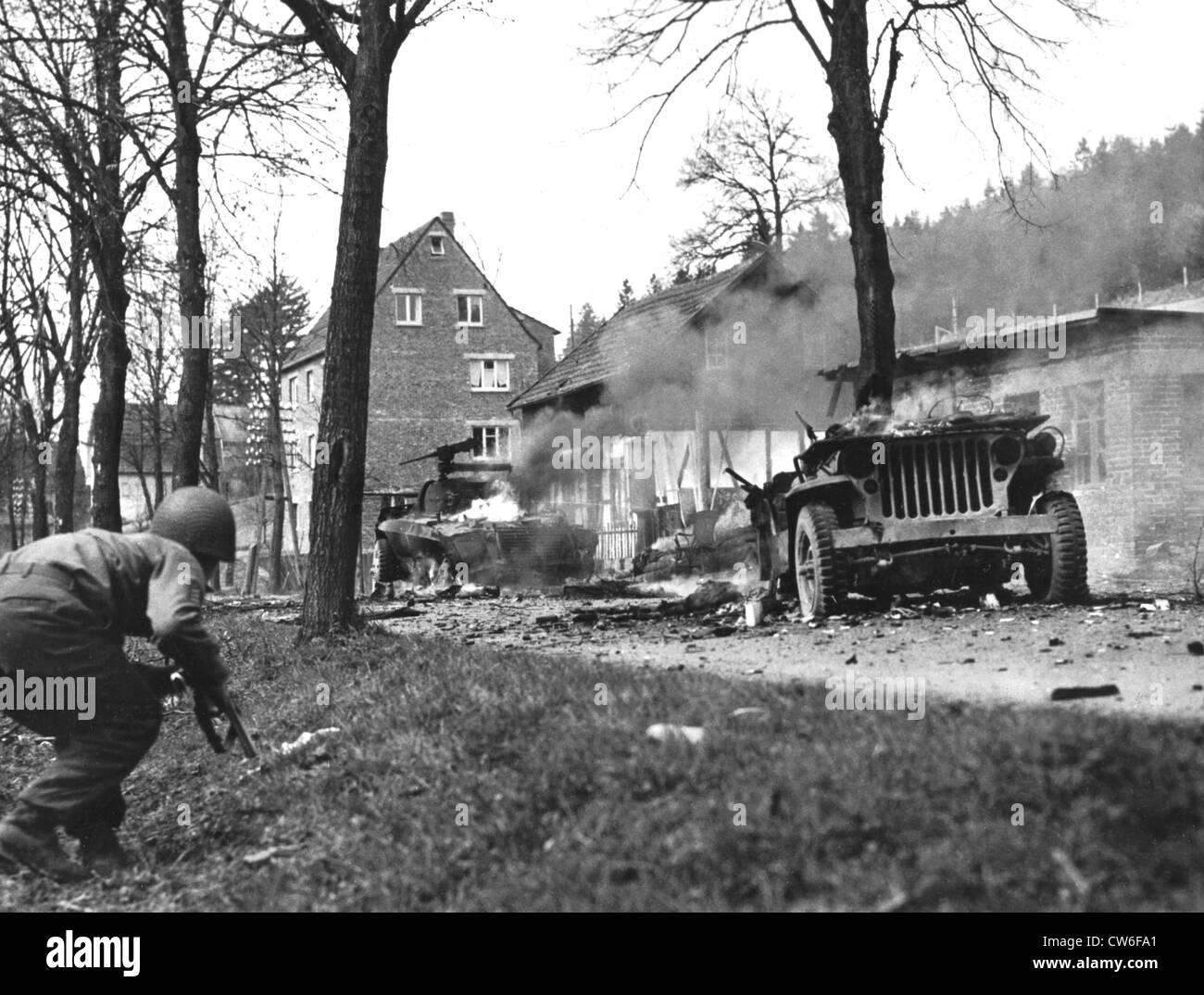 Battle scene in Germany, Spring 1945 - Stock Image