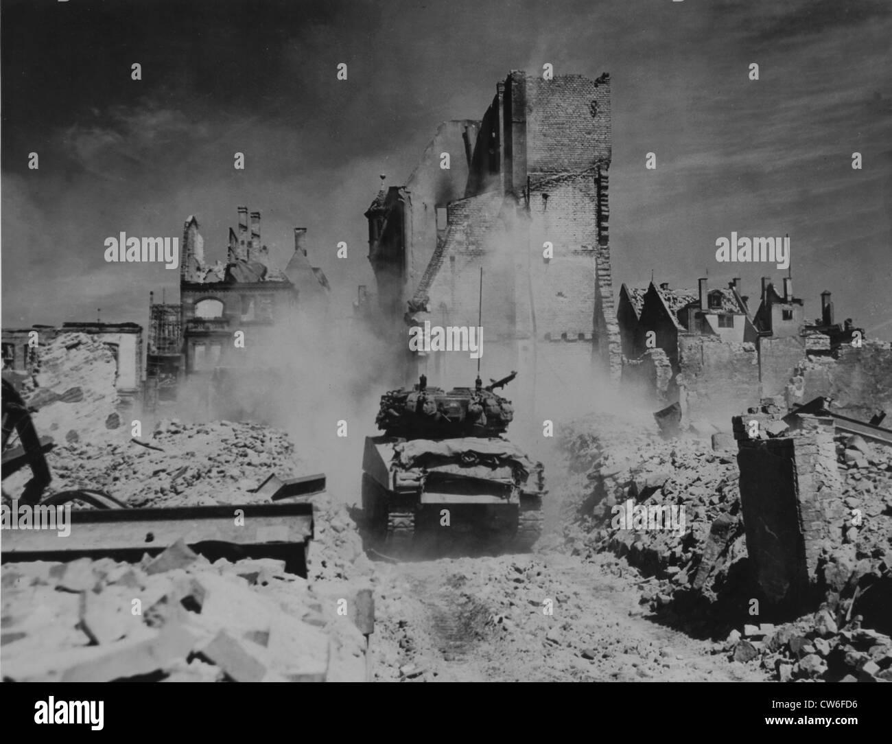Battle scene in Nuremberg (Germany) April 20, 1945 - Stock Image