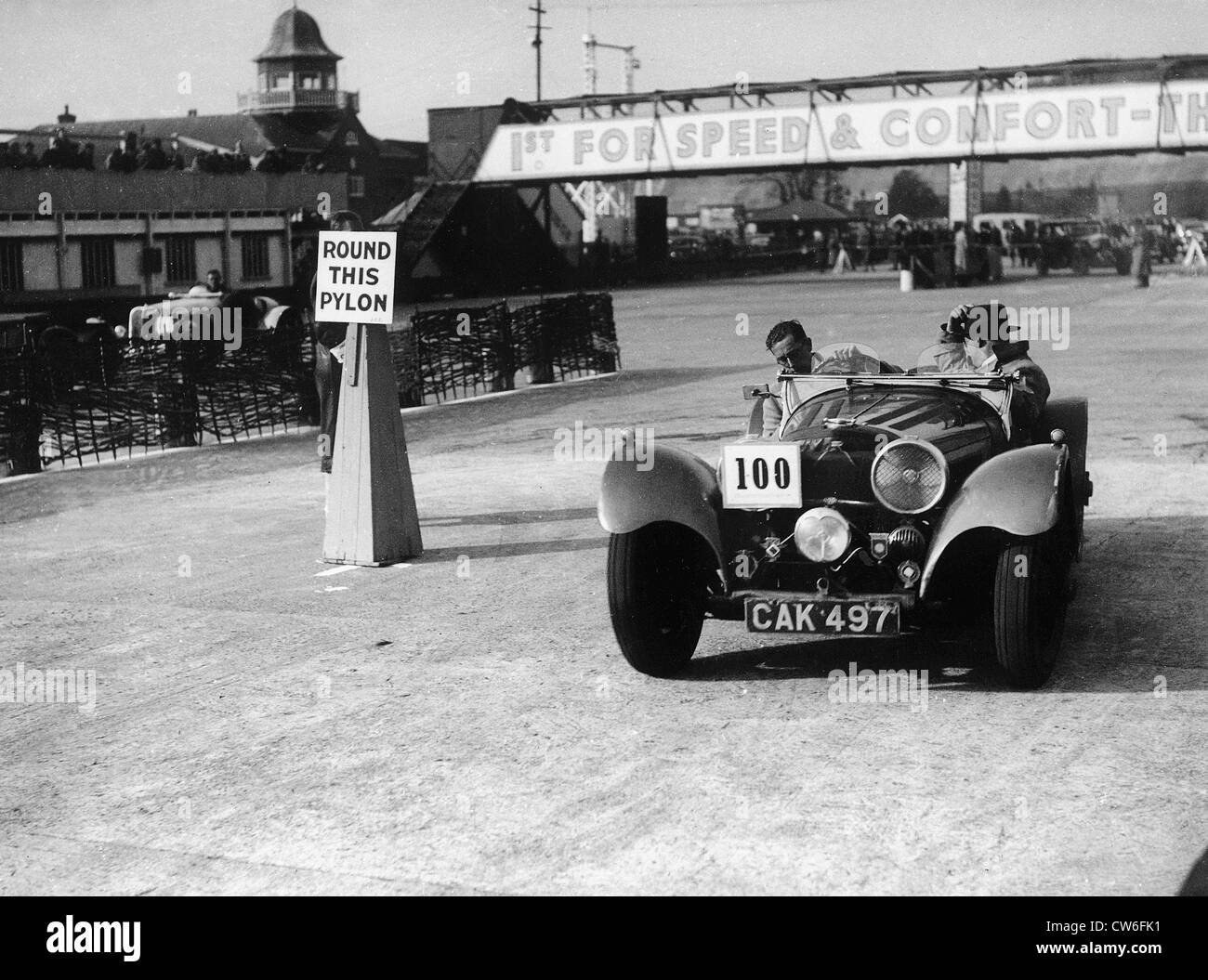 1938 SS 100 in Junior Car club event at Brooklands 25th March 1939. - Stock Image