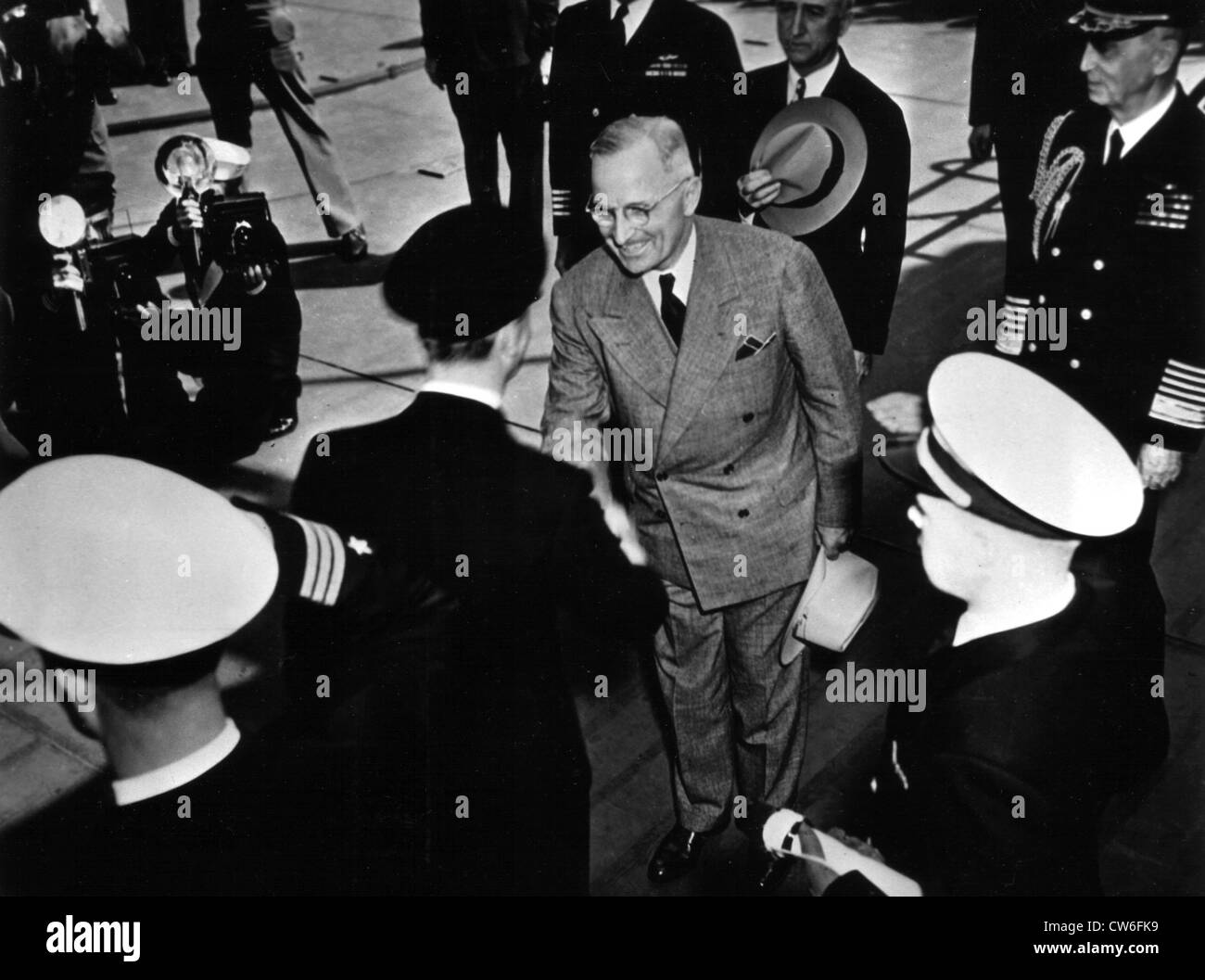 King George of England and American president Truman meet August 2, 1945 - Stock Image