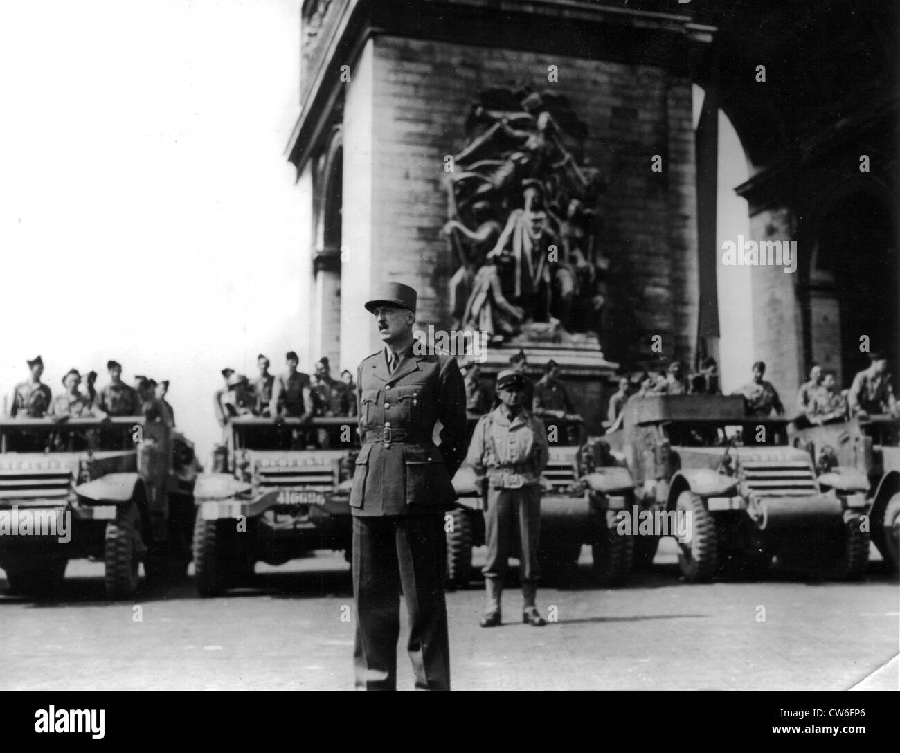 French General Koenig in Paris, August 25, 1944 - Stock Image
