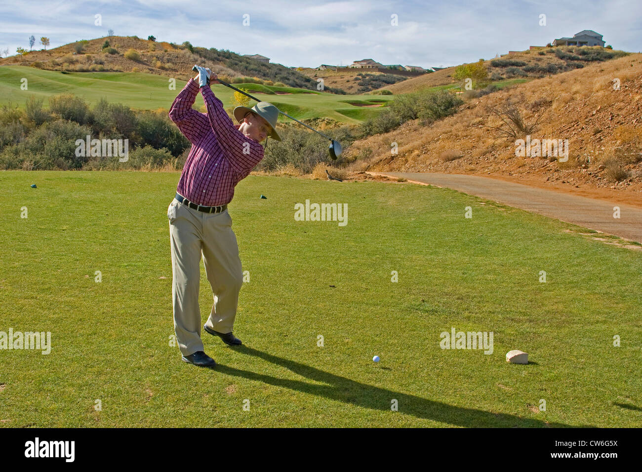 golfer at golf course Prescott in an altitude of 1600 metres, USA, Arizona, Prescott - Stock Image