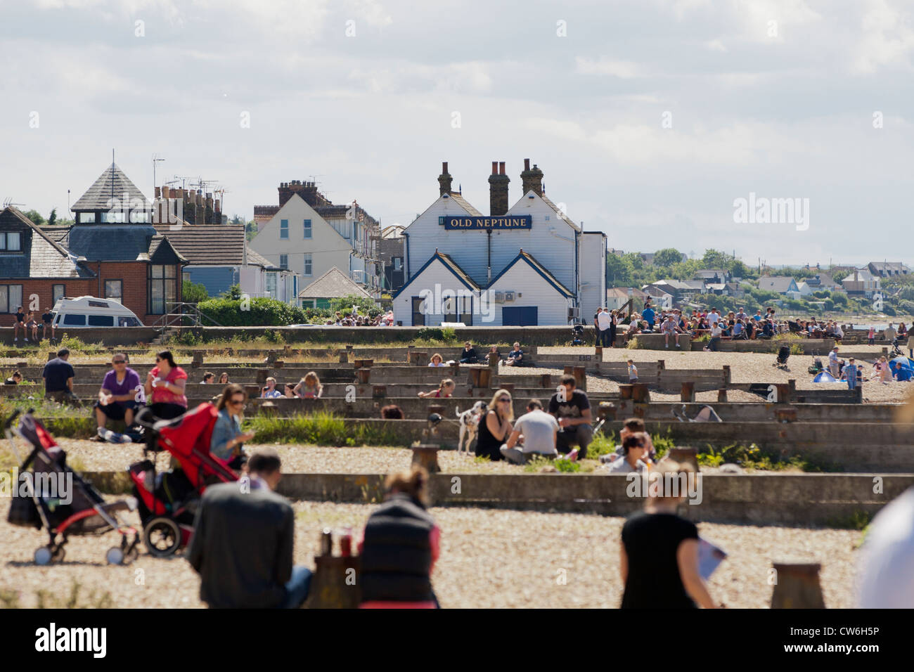 Whitstable beaches, view towards Old Neptune Pub, Kent - Stock Image