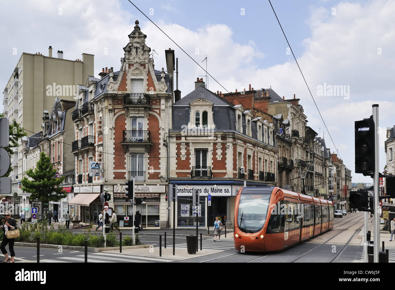 modern tram in the old town of Le Mans, France, Le Mans Stock Photo