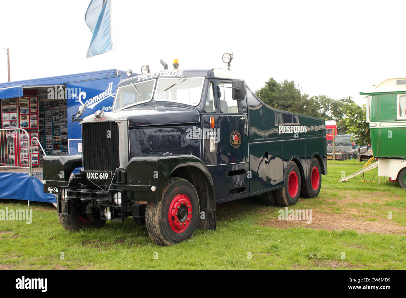 A Pickfords Scammell Junior Constructor UXC 619 on display at a Classic Vehicle Show West Sussex UK - Stock Image