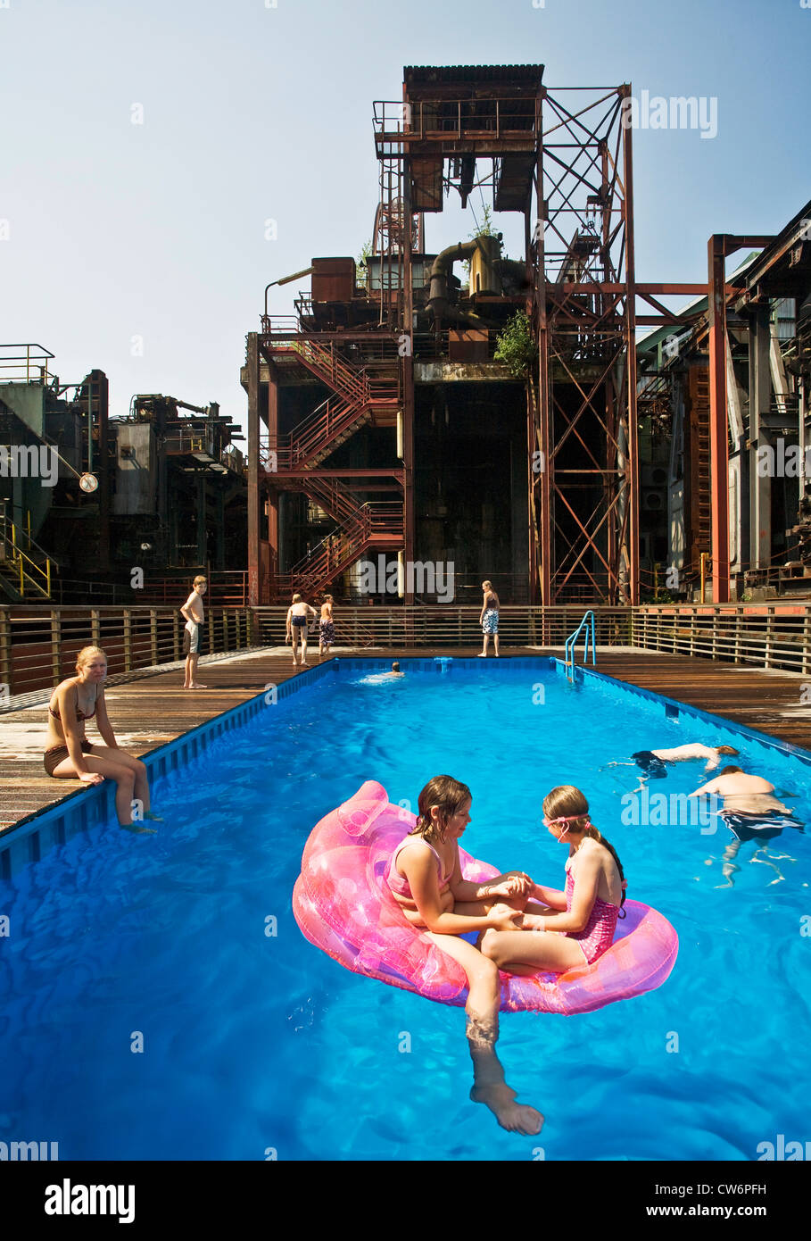 swimming pool at Kokerei Zollverein, Essen-Katernberg, Germany, North Rhine-Westphalia, Ruhr Area, Essen - Stock Image