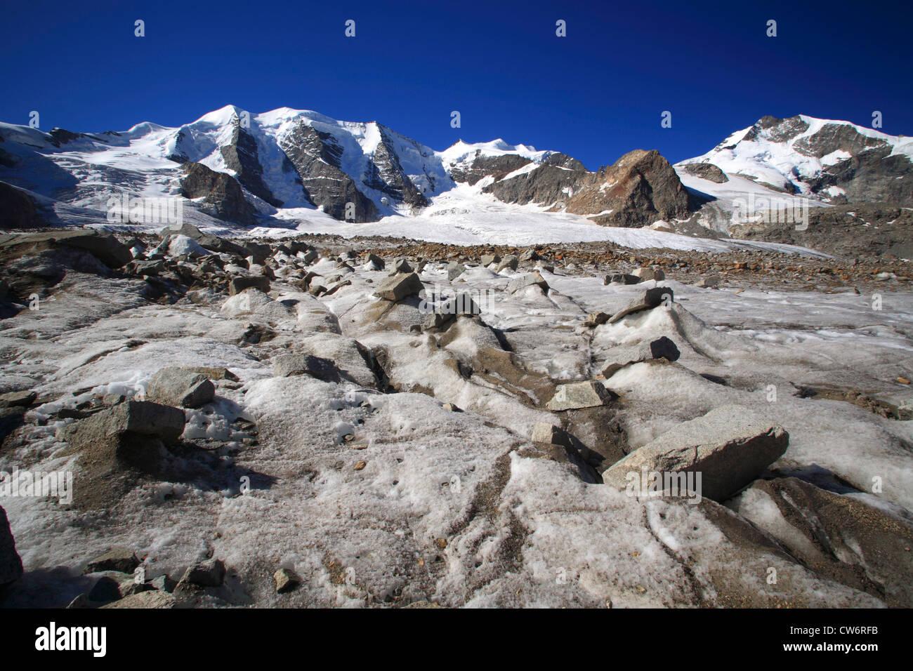 view from the Pers Glacier (Vadret Pers) on Piz Palue, Bellavista and Piz Bernina, Switzerland, Graubuenden, Engadine, Stock Photo