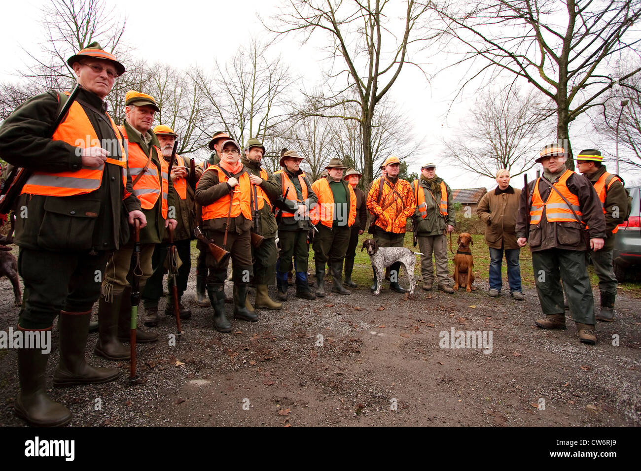 group photo of a shoot having come together for a battue, Germany - Stock Image