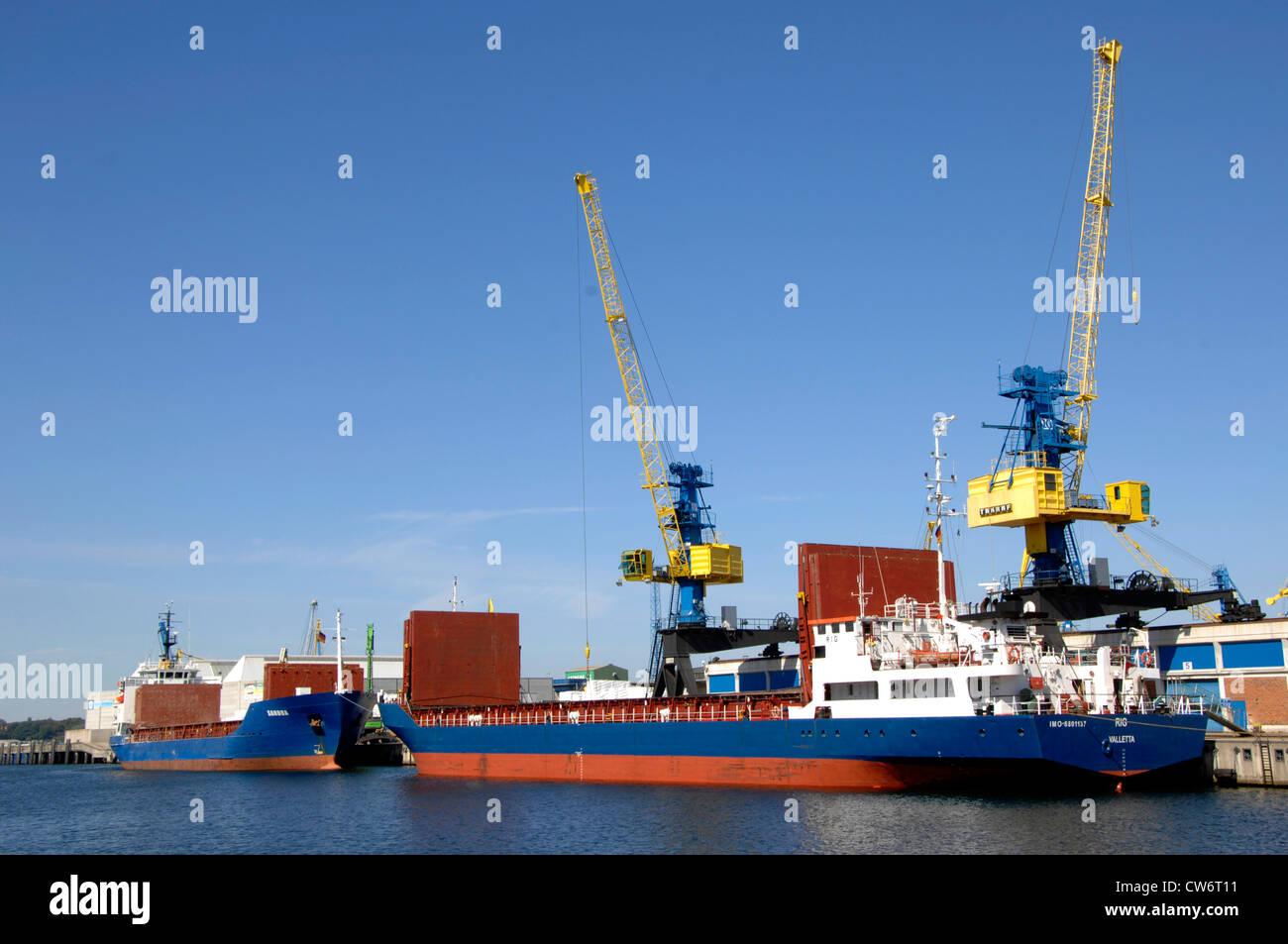 transport ships in Wismar harbour, Germany, Mecklenburg-Western Pomerania, Wismar - Stock Image
