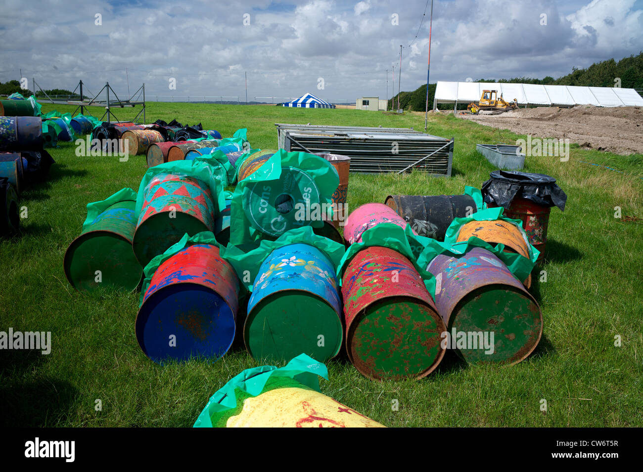 Rubbish bins in preparation for Boomtown Festival  UK - Stock Image