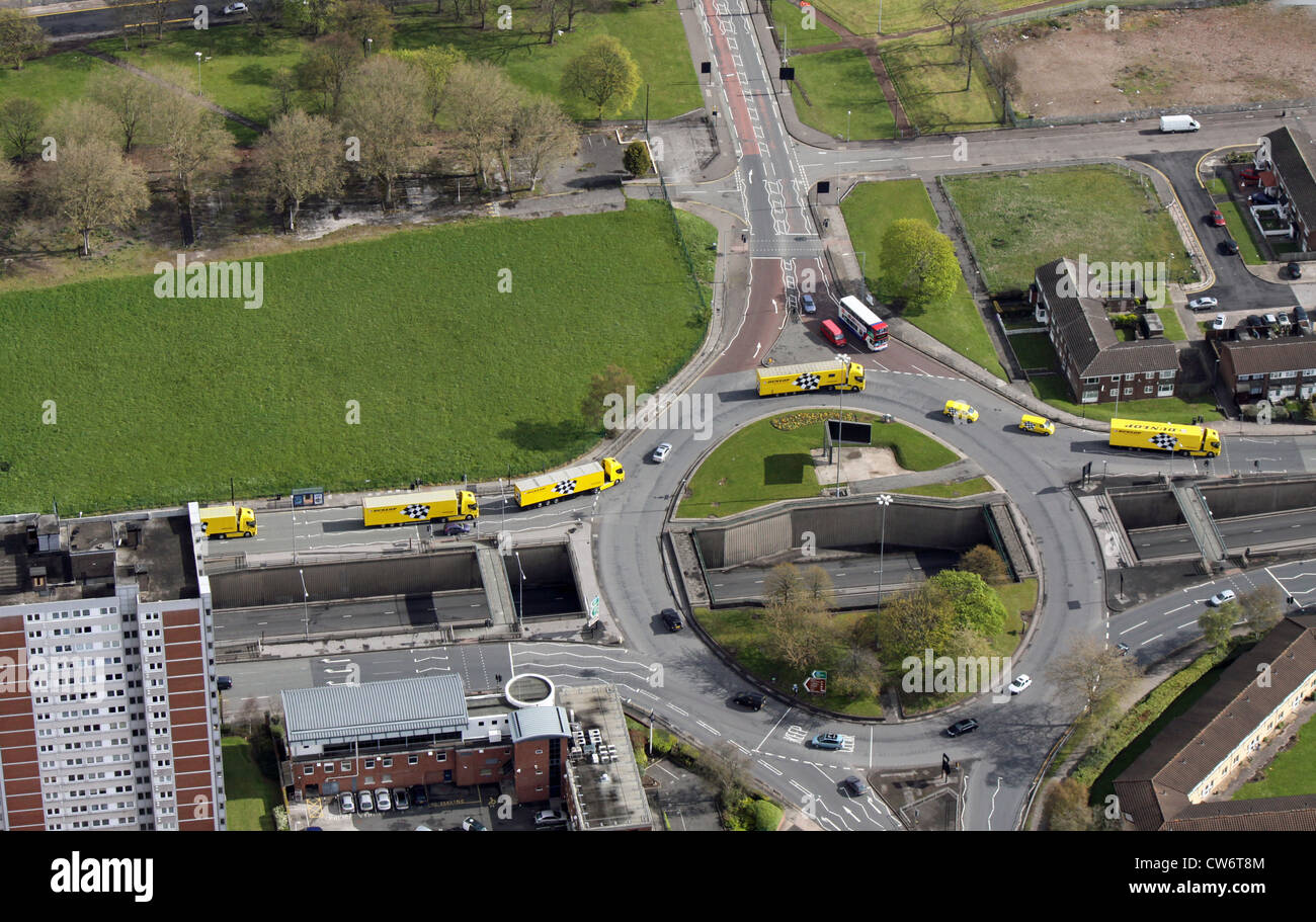 aerial view of a Dunlop Racing truck publicity stunt on the streets of Birmingham - Stock Image