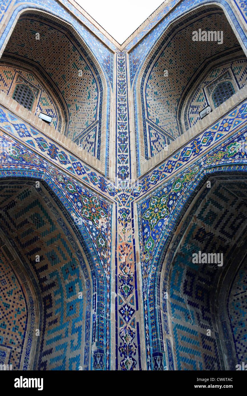 Inner yard of the Ulugbek Madrasah, Registan Square, Uzbekistan, Sarmakand - Stock Image