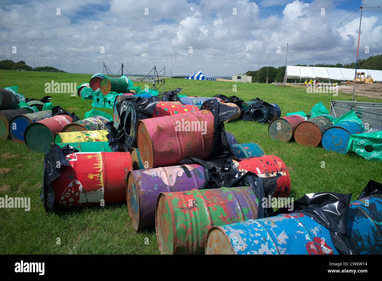 Rubbish bins in preparation for Boomtown rock Festival  UK - Stock Image