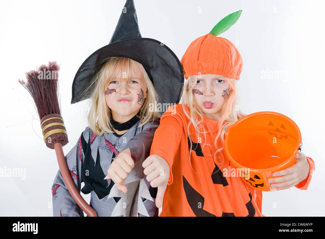 children in halloween costumes dress up as witch and pumpkin - Stock Image  sc 1 st  Alamy & Mythical Creature Costumes Stock Photos u0026 Mythical Creature Costumes ...