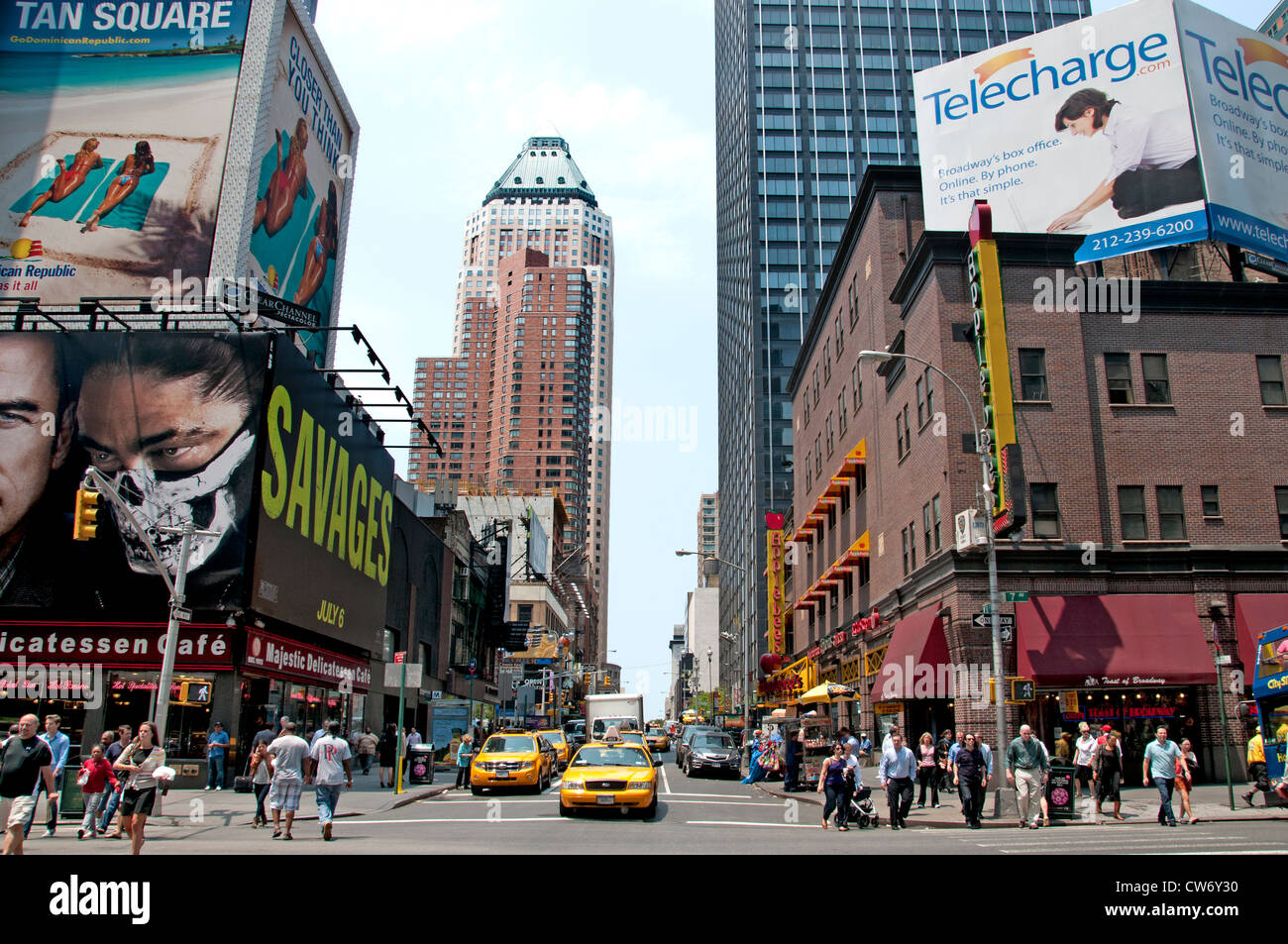 New York City  7 th Avenue near Times Square Savages - Stock Image