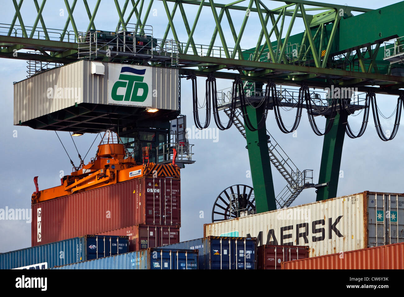 container terminal in the Harbour of Dortmund, Germany, North Rhine-Westphalia, Ruhr Area, Dortmund Stock Photo