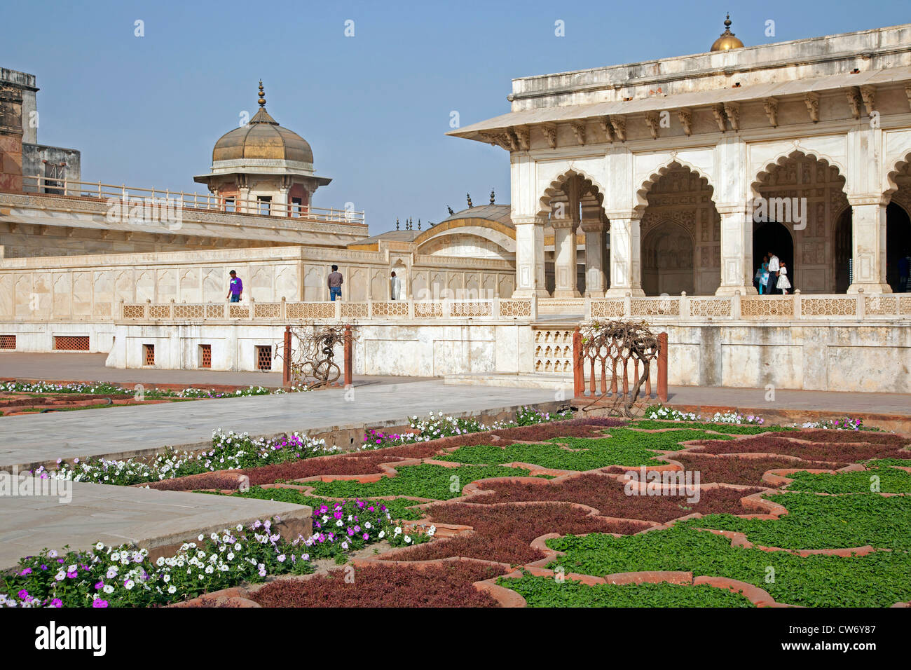 Anguri Bagh gardens in the Agra Fort / Red Fort in Agra, Uttar Pradesh, India - Stock Image