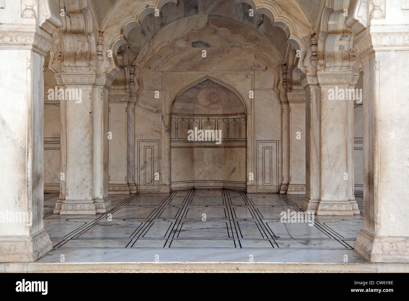 Interior in marble of the Agra Fort / Red Fort in Agra, Uttar Pradesh, India - Stock Image