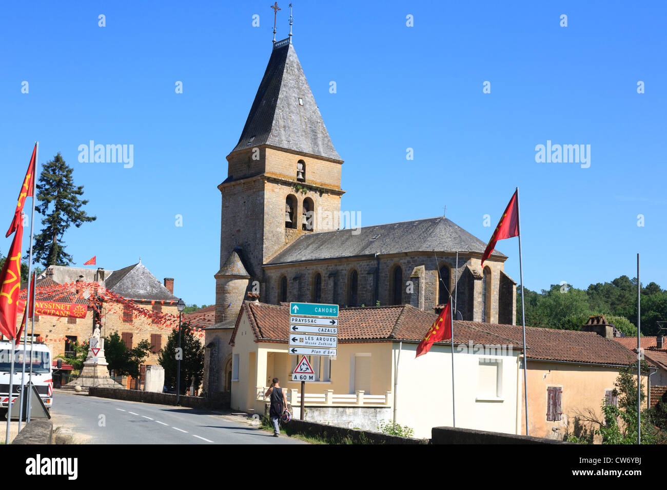The church in the centre of the Village of Frayssinet-Le-Gelat in the Lot region of France Stock Photo