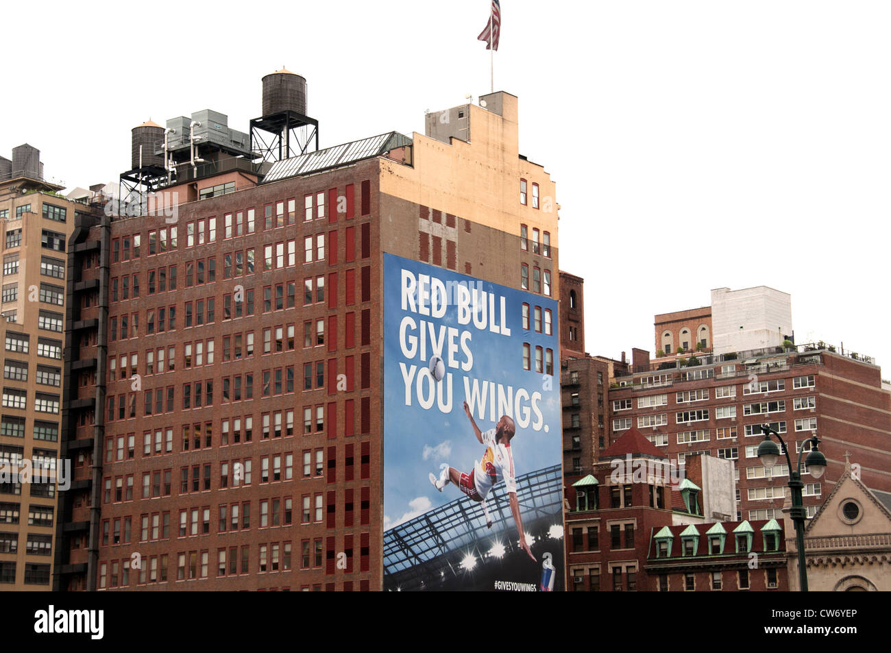Red Bull Gives Your Wings Billboard Advertising Tennis New York City Manhattan - Stock Image