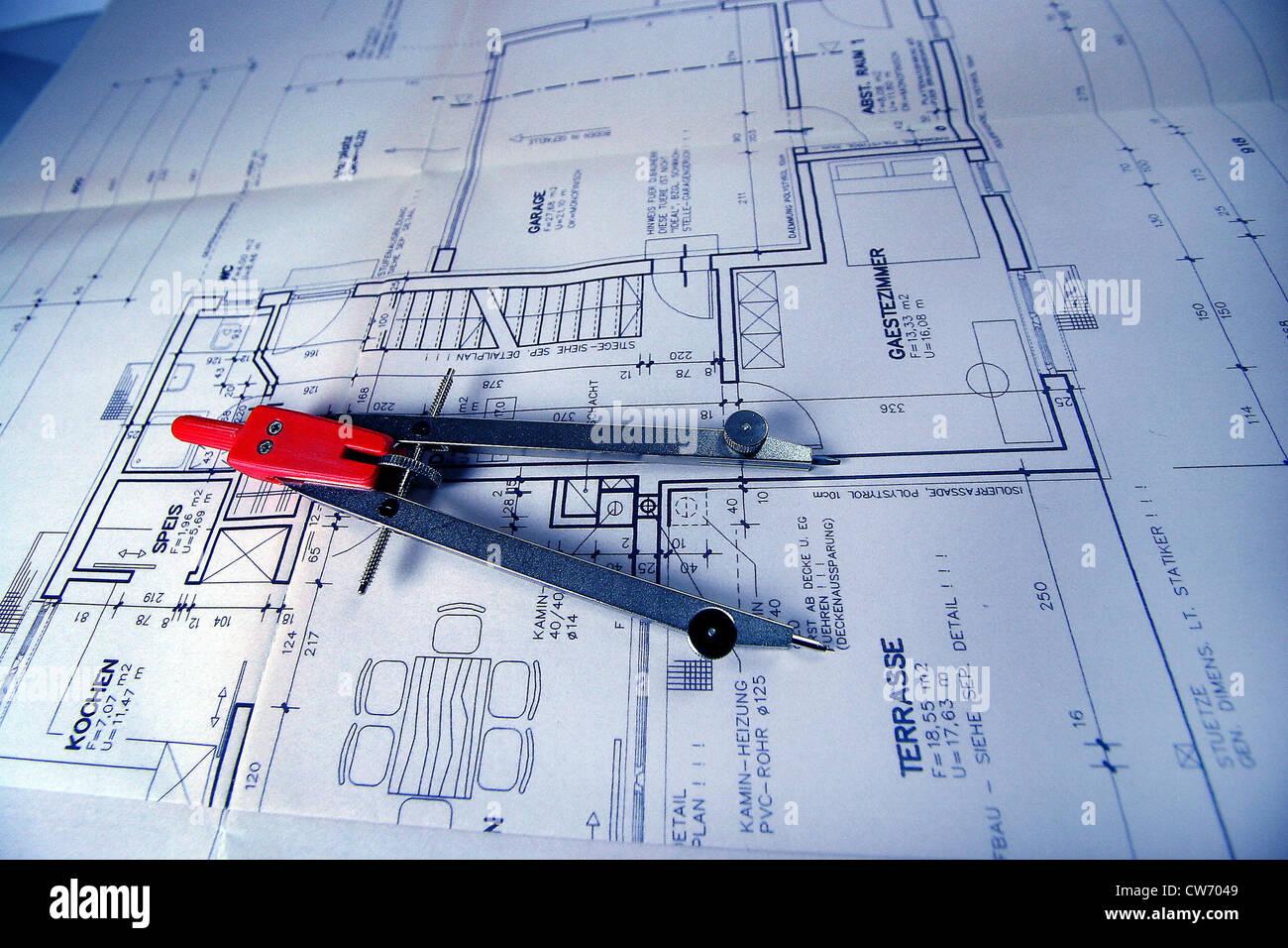 construction plan and circle - Stock Image